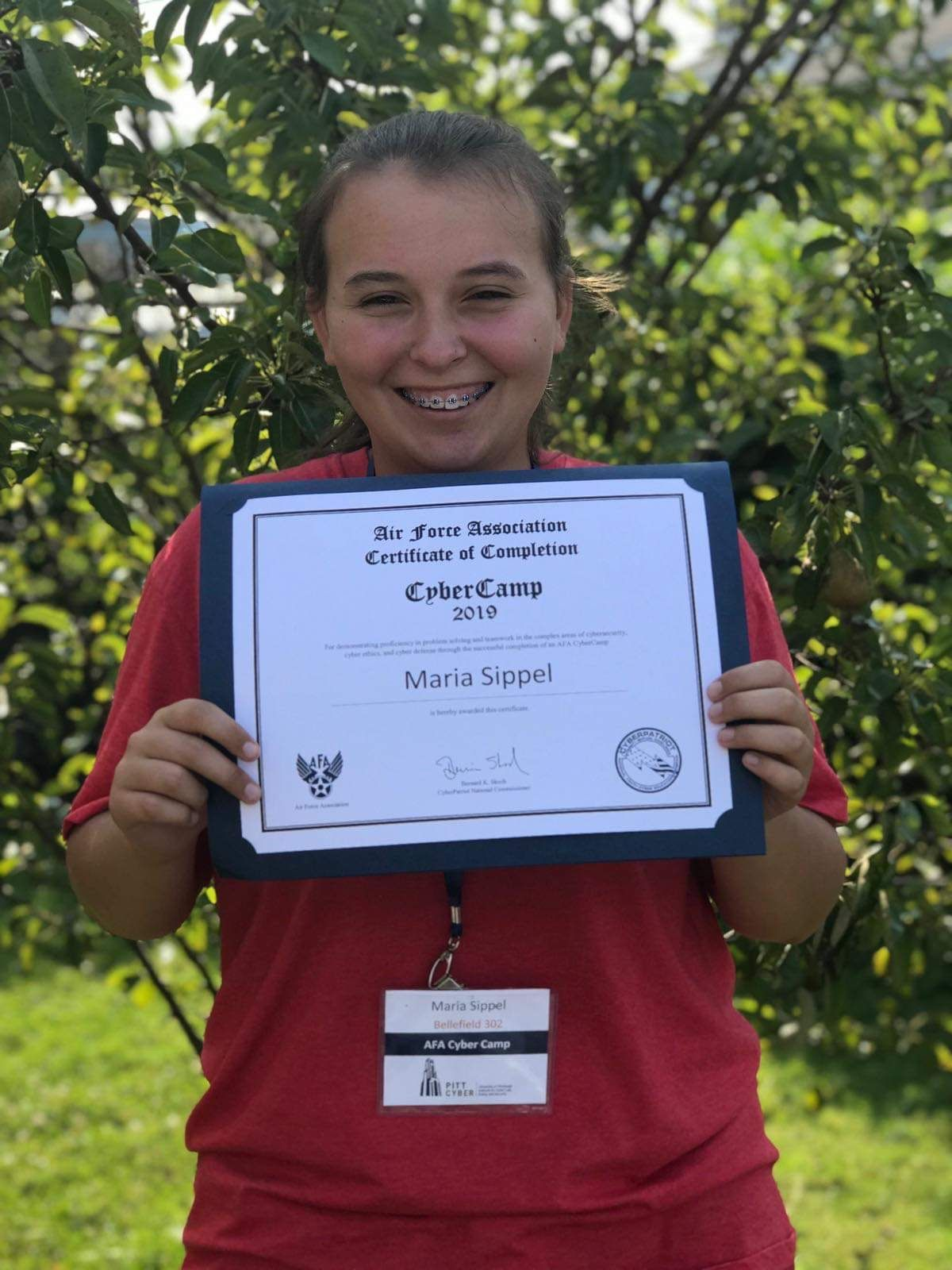 Cyber Camp Award for Maria Sippel, '22
