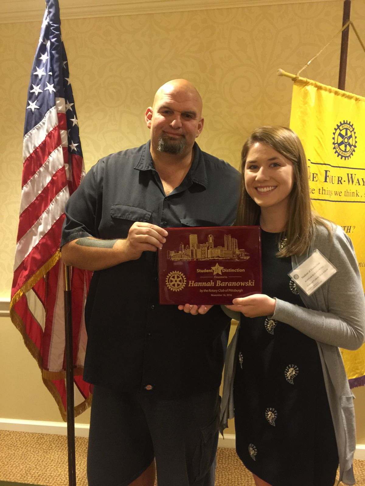 Hannah Baranowski, '17, Rotary Club of Pittsburgh's Student of Distinction
